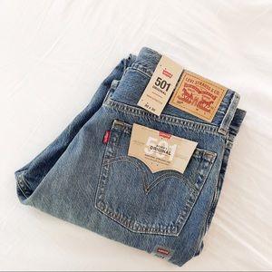 Levis 501 distressed Rigid Denim Jeans NWT 30